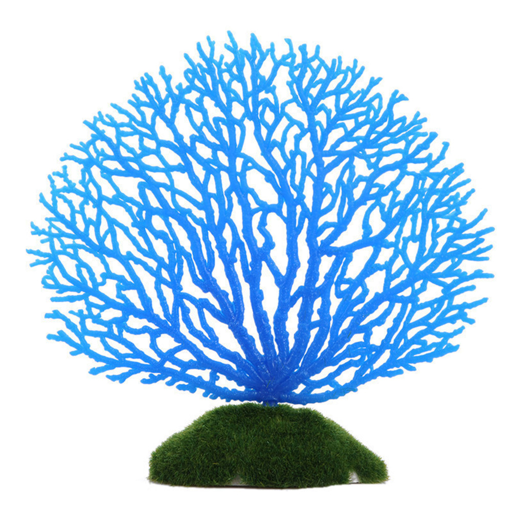 Glowing Effect Aquarium Decoration Artificial Noctilucence Coral for Fish Tank Fake Underwater Plant Landscape blue