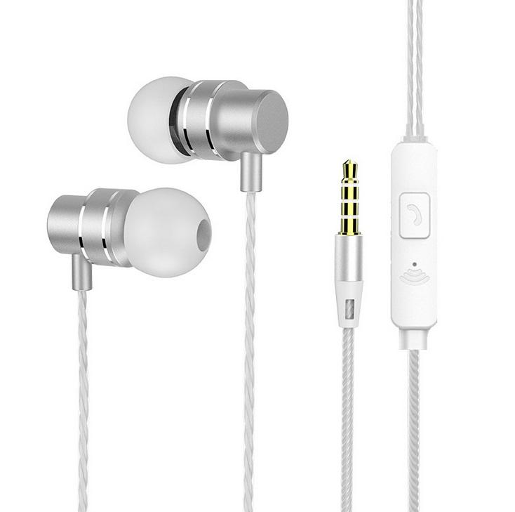 In-Ear Headphones Earphone Stereo Bass Headset Metal Wired Earphone HiFi Headphones Mic white
