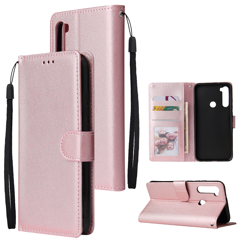 For Redmi NOTE 8 PU Leather Front Putton Protective Phone Case with 3 Cards Bracket Rose gold