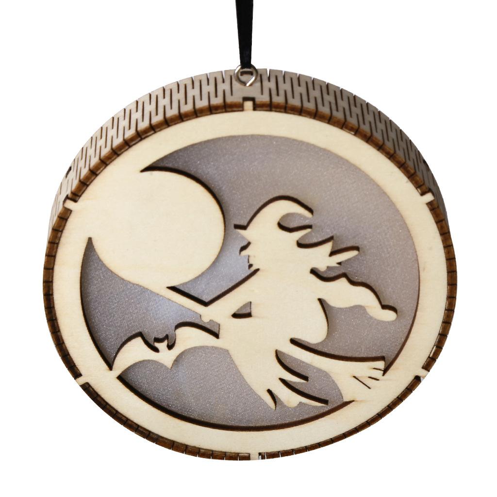 LED Wooden Hollow Light Round Shape Hanging Pendant Holiday Party Decorative Night Light JM01491