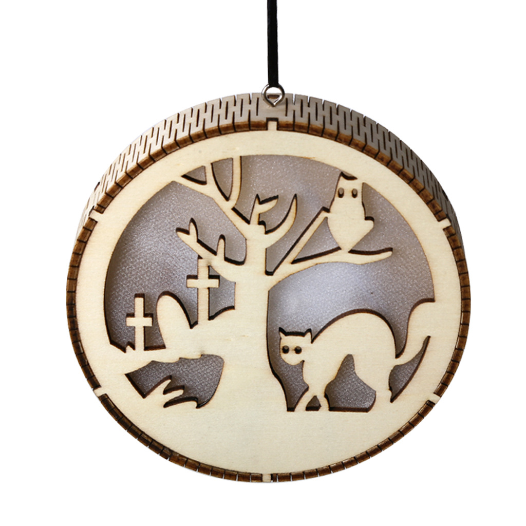 LED Wooden Hollow Light Round Shape Hanging Pendant Holiday Party Decorative Night Light JM01490