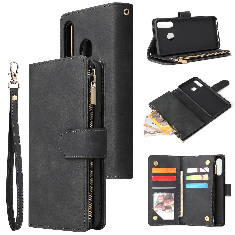 For HUAWEI P30 HUAWEI P30 lite HUAWEI P30 pro Multi-card Bracket Coin Wallet Zipper Mobile Phone PU Leather Phone Case  1 black