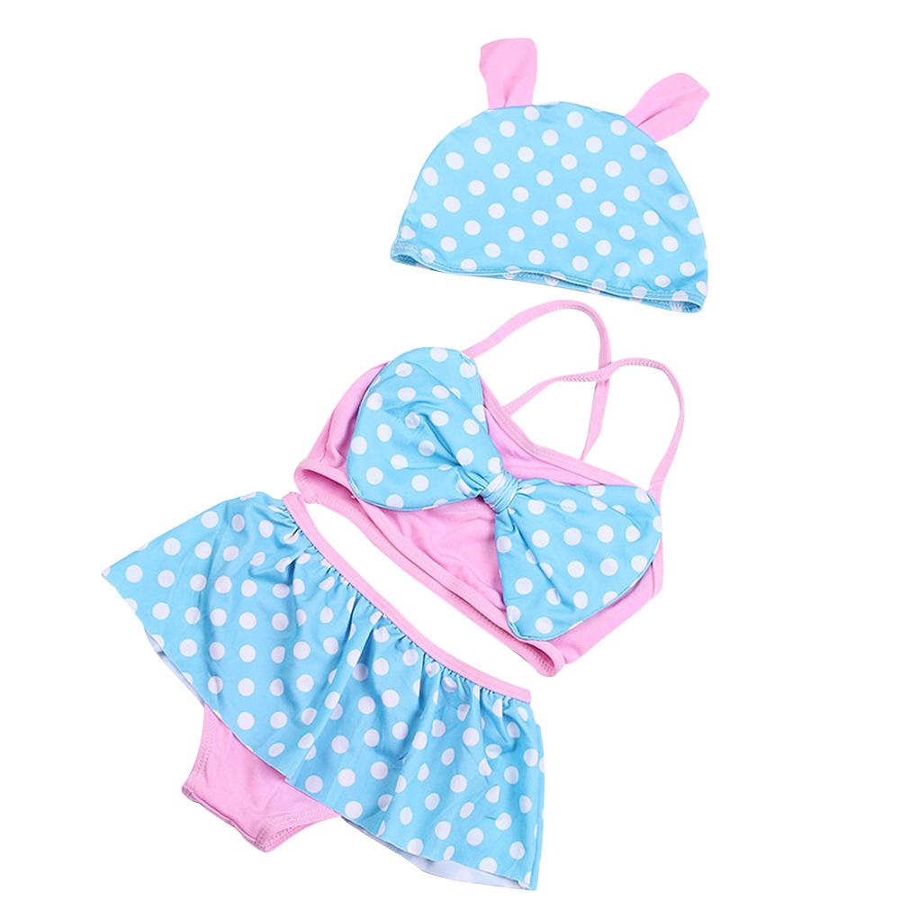 Girls Lovely Princess Polka Dot Flower Skirt Split Swimsuit Set blue + white dot_One size (body weight 14-22lb)