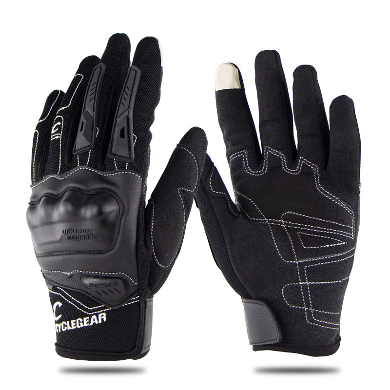 Motorcycle Riding Gloves Anti-slip  Anti-fall Racing Knight Gloves  Touchscreen Safe Gloves black_M