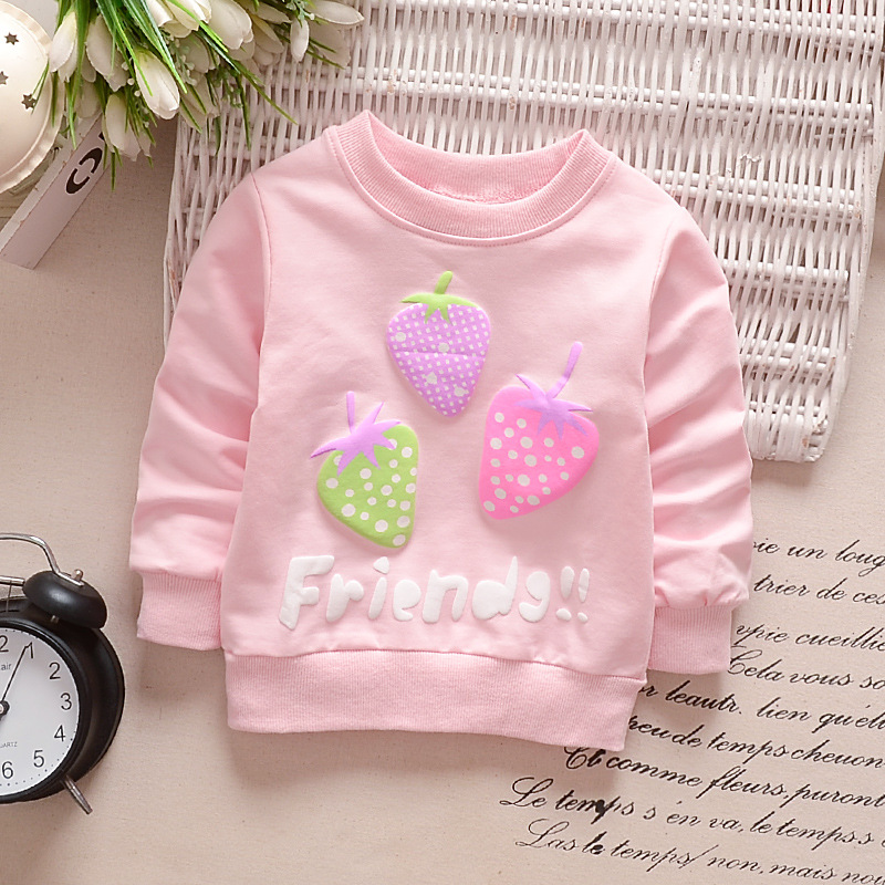 Girl T-Shirt Strawberry Print Bottoming Long-sleeved Shirt Round Collar Infant Pullover  TX-pink_90CM