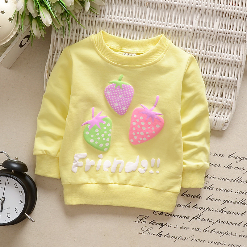 Girl T-Shirt Strawberry Print Bottoming Long-sleeved Shirt Round Collar Infant Pullover  TX-yellow_90CM