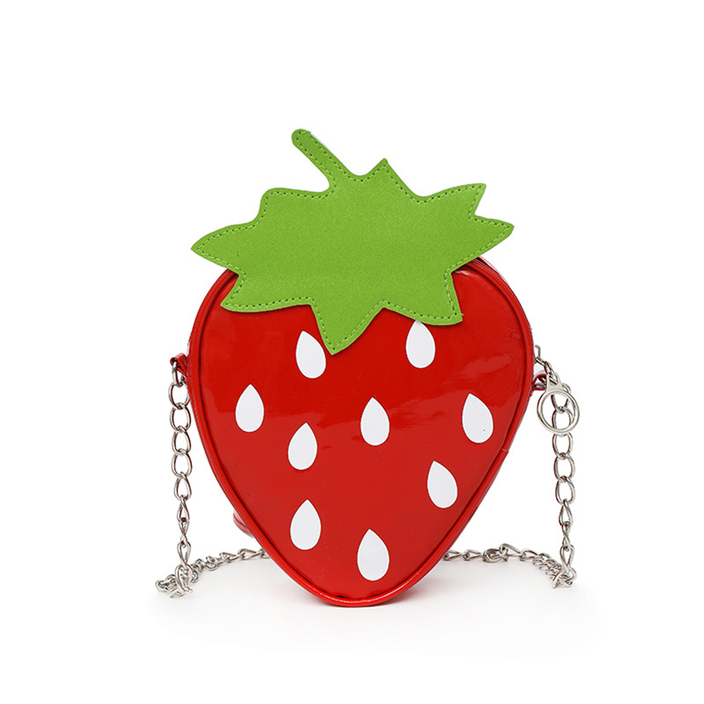 Woman Cartoon Cute Strawberry Shape Mini Satchel Single Shoulder Bag  red