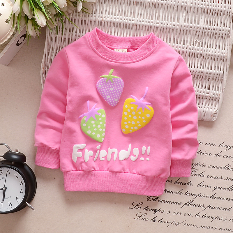 Girl T-Shirt Strawberry Print Bottoming Long-sleeved Shirt Round Collar Infant Pullover  TX-rose red_90CM