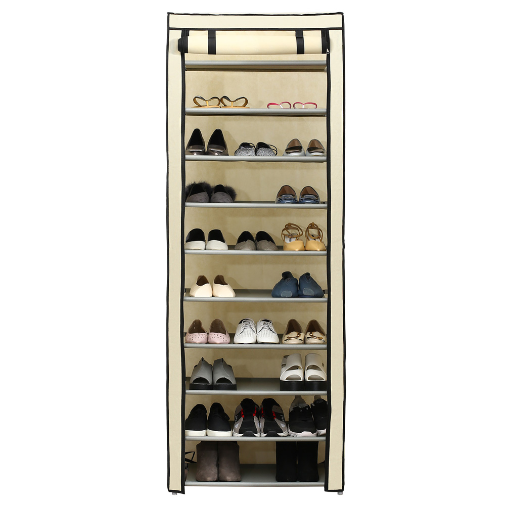 Simple 10 Layers Shoes Rack with Curtained Door Assemble Shoe Cabinet for Home Storage brown
