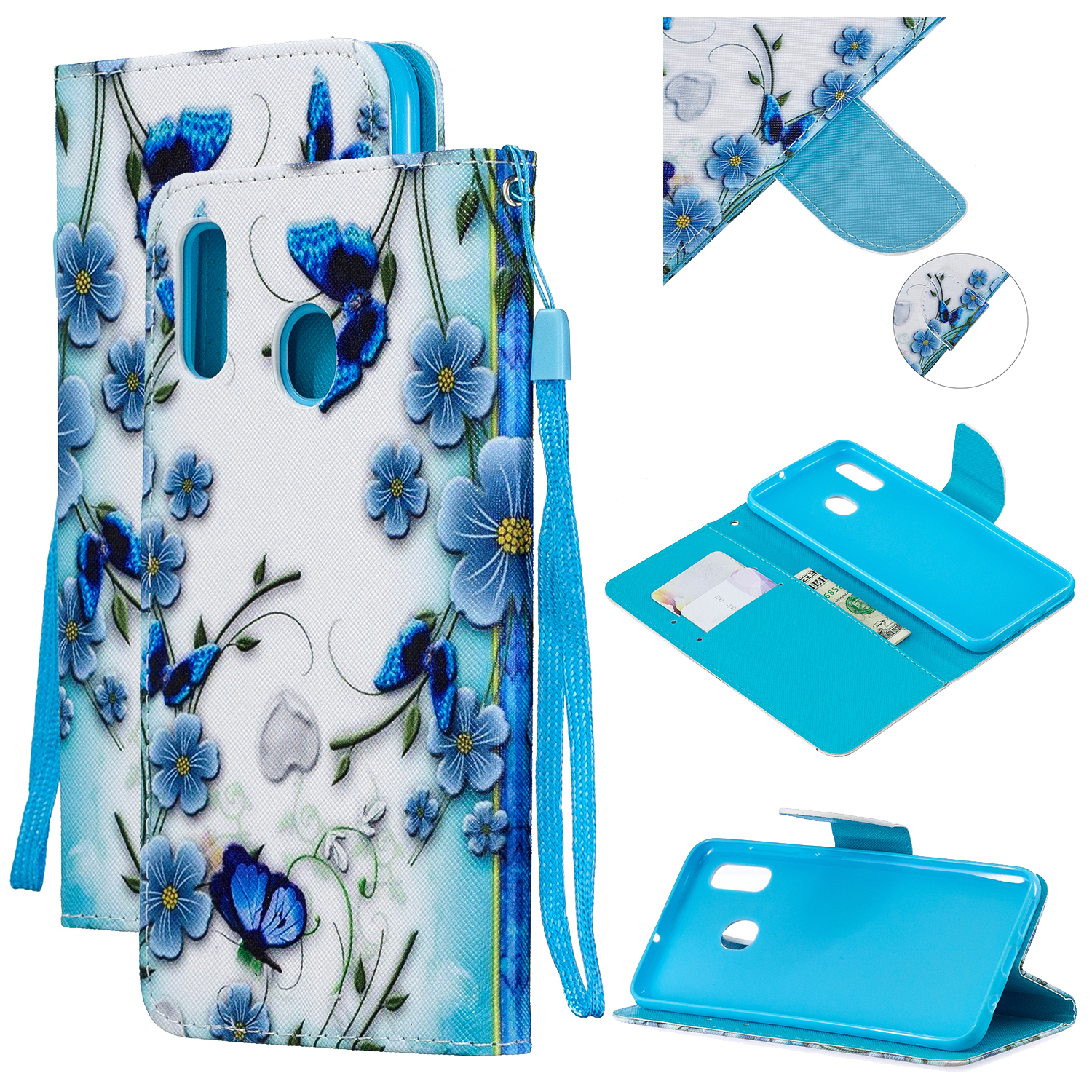 For Samsung A10/A20/A30 Smartphone Case PU Leather Wallet Design Cellphone Cover with Card Holder Stand Available Magic butterfly
