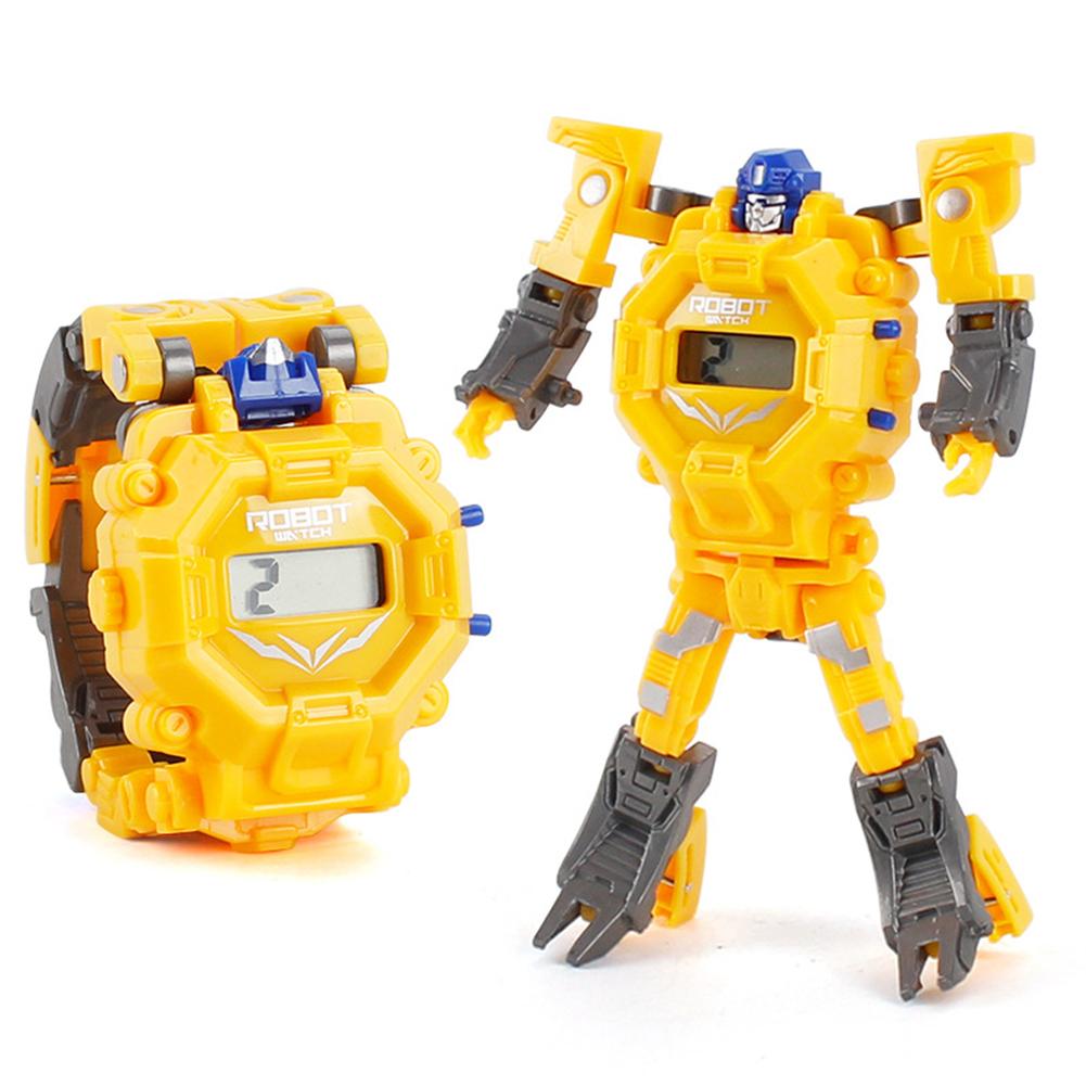 Cartoon Transformable Robot Electronic Wristwatch Digital Display Watch Child Boy Girl Toy yellow