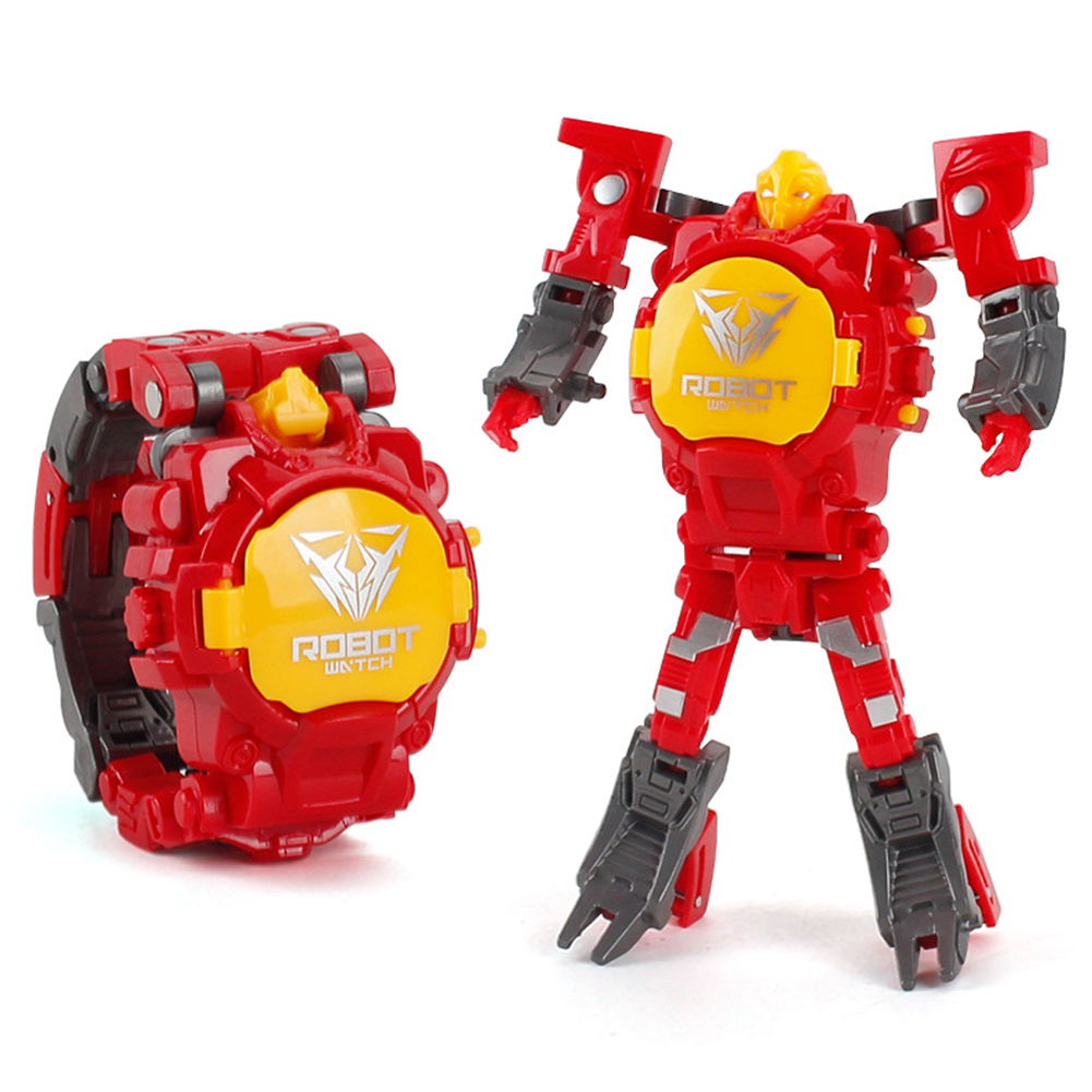 Cartoon Transformable Robot Electronic Wristwatch Digital Display Watch Child Boy Girl Toy red