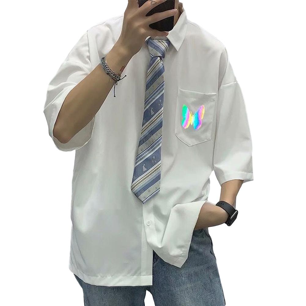 Men's Shirt Summer Large Size Loose Short-sleeve Uniform Shirts with Tie White _XL