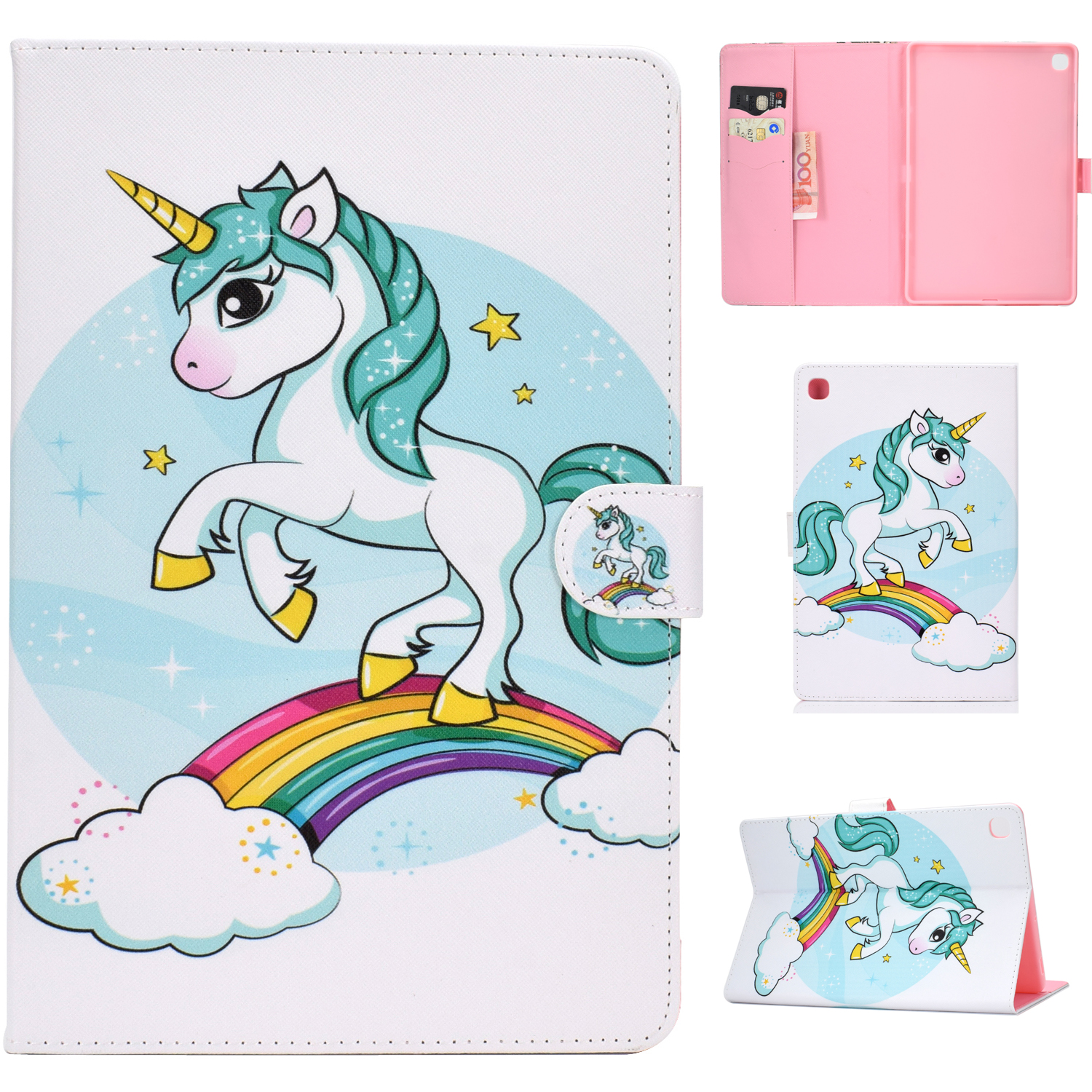For Samsung T510/T515 Laptop Protective Case with Front Snap Cute Cartoon Color Painted Smart Stay PU Cover  single horned horse