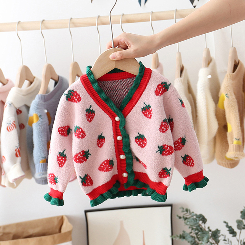 Little Girl Children Kids Sweet Long Sleeve Sweater Jacket Strawberry V-neck Cardigan Coat Strawberry Sweater Jacket Powder_70cm