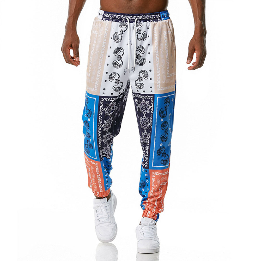 Men's Casual Pants Paisley Retro Style Printing Casual Sports Jogging Pants Blue and white _L