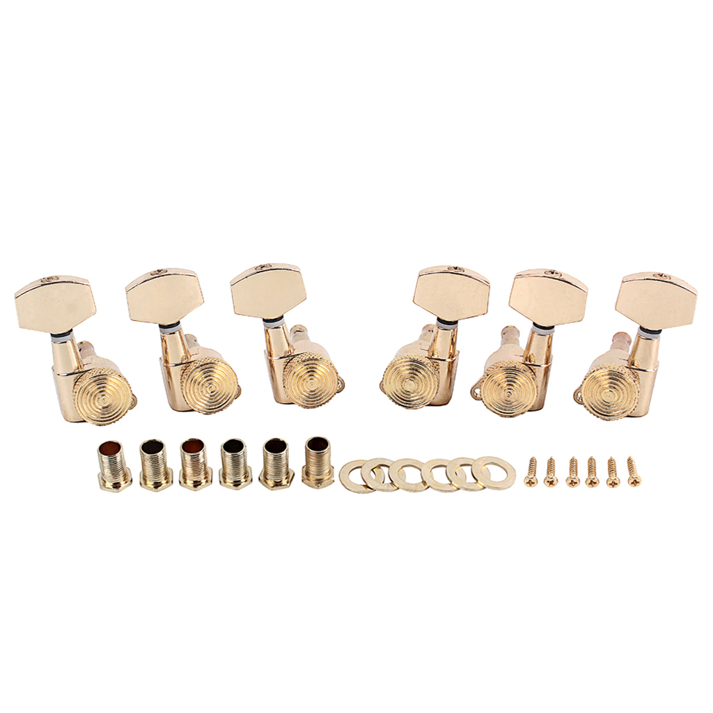 Guitar Knob Ferrule Threaded Bush Screws Set for Musical Instrument Accessories Gold