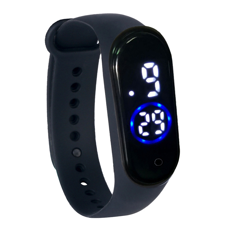 M4 Touch Movement Diving Swimming Fitness Smart LED Bracelet with Month Day Time Display Waterproof black