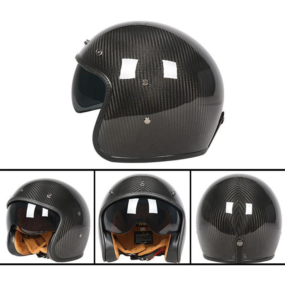Retro Helmet Carbon Fibre Half Helmet Half Covered Riding Helmet Bright 3K carbon fiber L