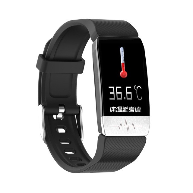 T1 Temperature Detection Smart Bracelet Watch Heart Rate Blood Pressure Monitoring Watch black
