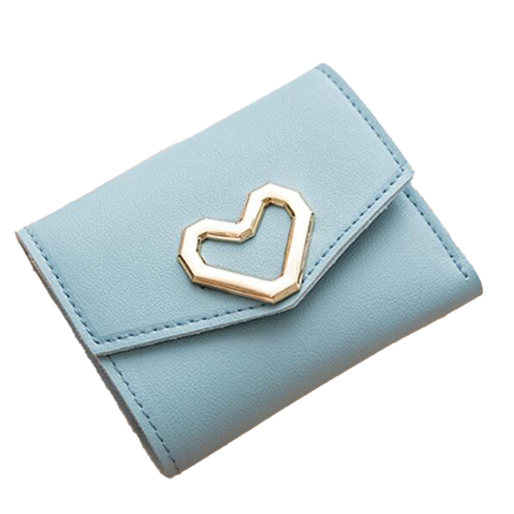 Women Short Wallet Heart 3-folds Candy Color PU Leather Magnetic Buckle Square Purse blue
