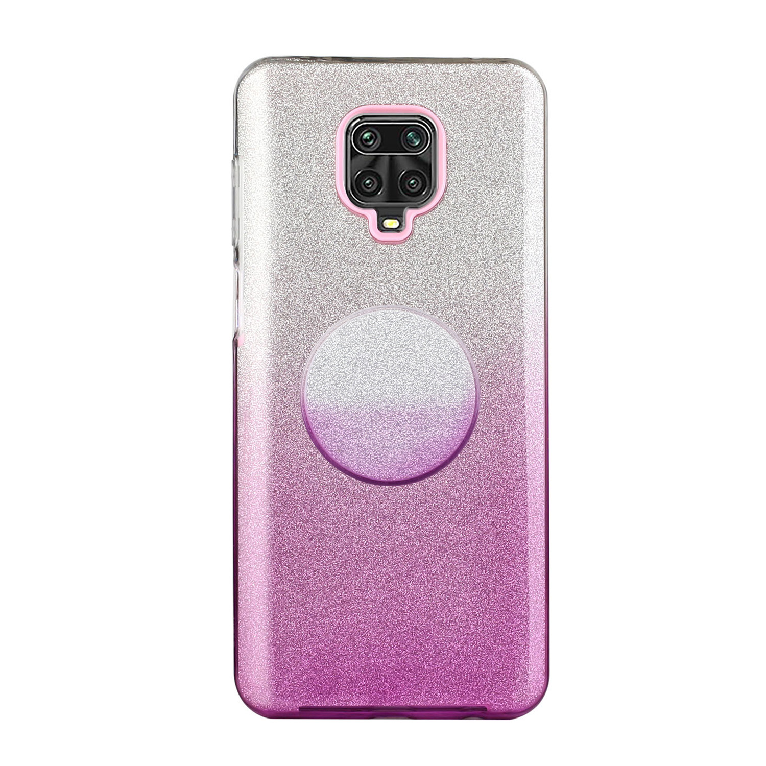 For XIAOMI CC9E/A3/10/10 PRO/K20/K20 pro Phone Case Gradient Color Glitter Powder Phone Cover with Airbag Bracket purple
