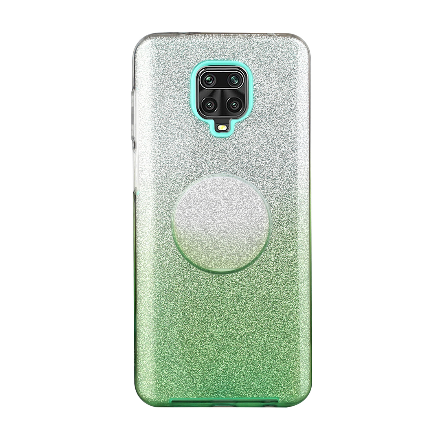 For XIAOMI CC9E/A3/10/10 PRO/K20/K20 pro Phone Case Gradient Color Glitter Powder Phone Cover with Airbag Bracket green