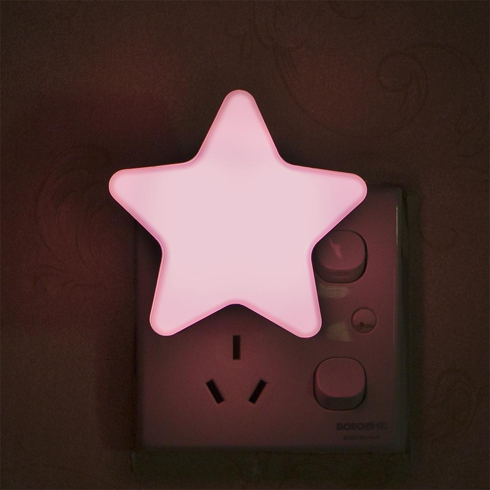 Smart Light Sensor Star-shape LED Bed Light Night Lamp Home Office Decoration Gift Pink_U.S. regulations