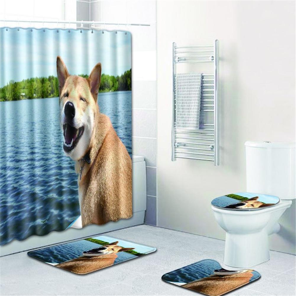 4  Pcs Non-slip Rug Toilet  Lid  Cover Bath  Mat Waterproof Bath  Curtain w180623-d038_45*75cm