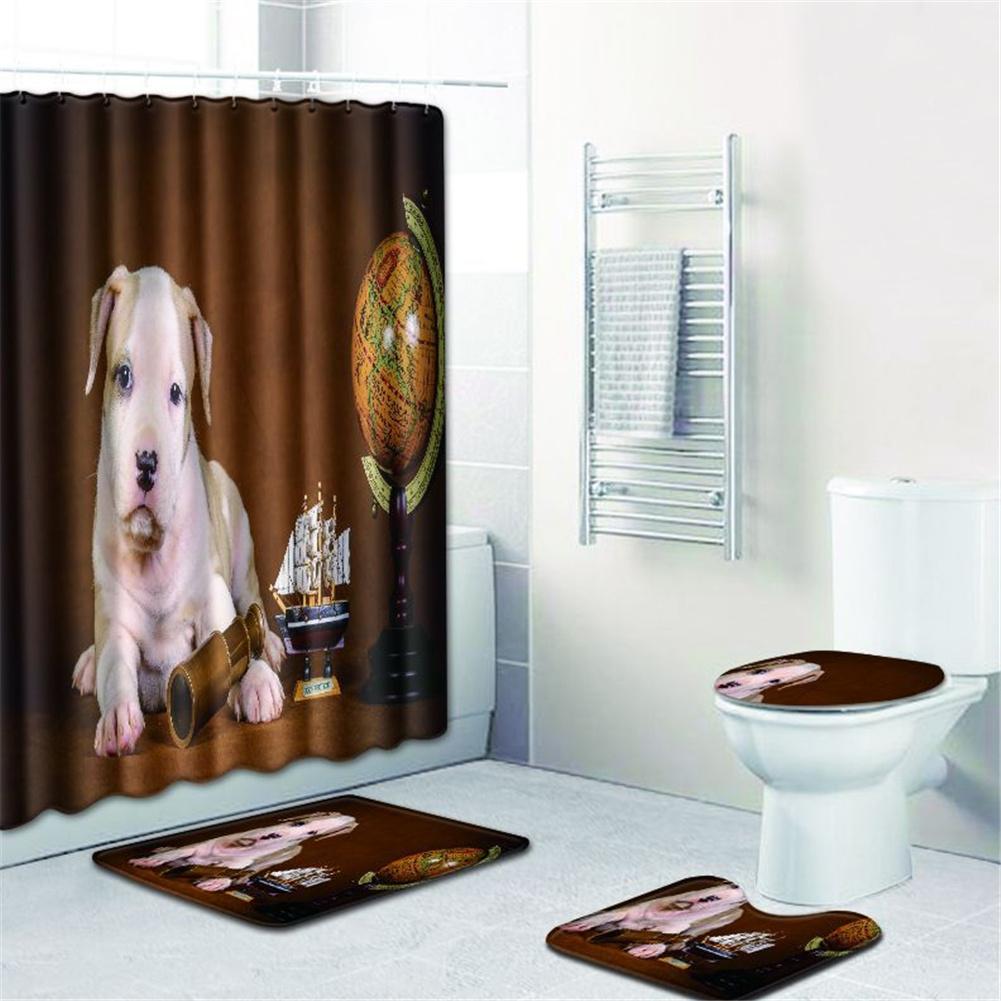 4  Pcs Non-slip Rug Toilet  Lid  Cover Bath  Mat Waterproof Bath  Curtain w180623-d040_45*75cm