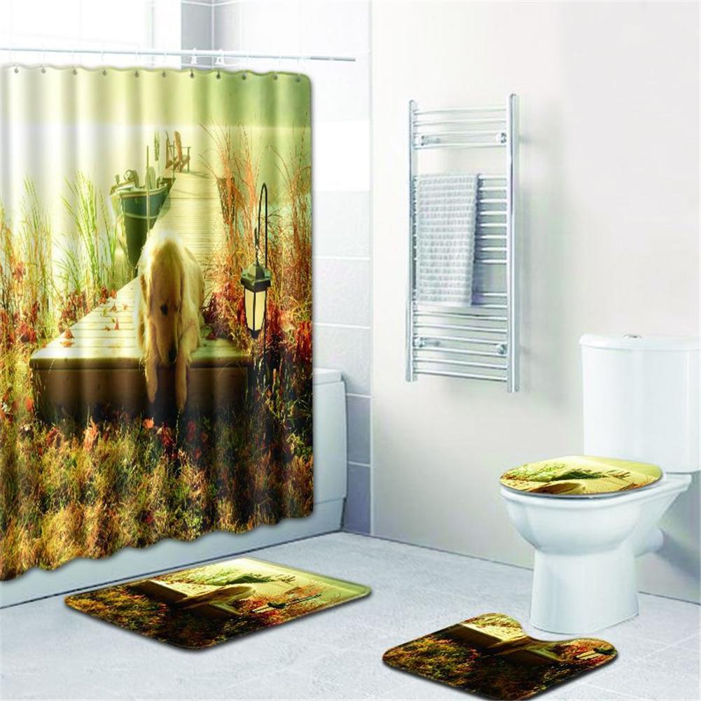 4  Pcs Non-slip Rug Toilet  Lid  Cover Bath  Mat Waterproof Bath  Curtain w180623-d039_45*75cm