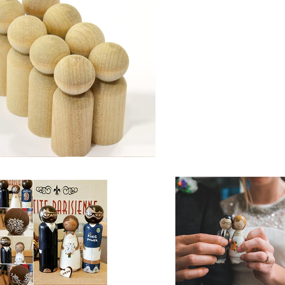Men Shape Peg Dolls Natural Hardwood Unfinished DIY Wedding Cake Topper Home Decor Kids Toys Crafts 10PCS/Set