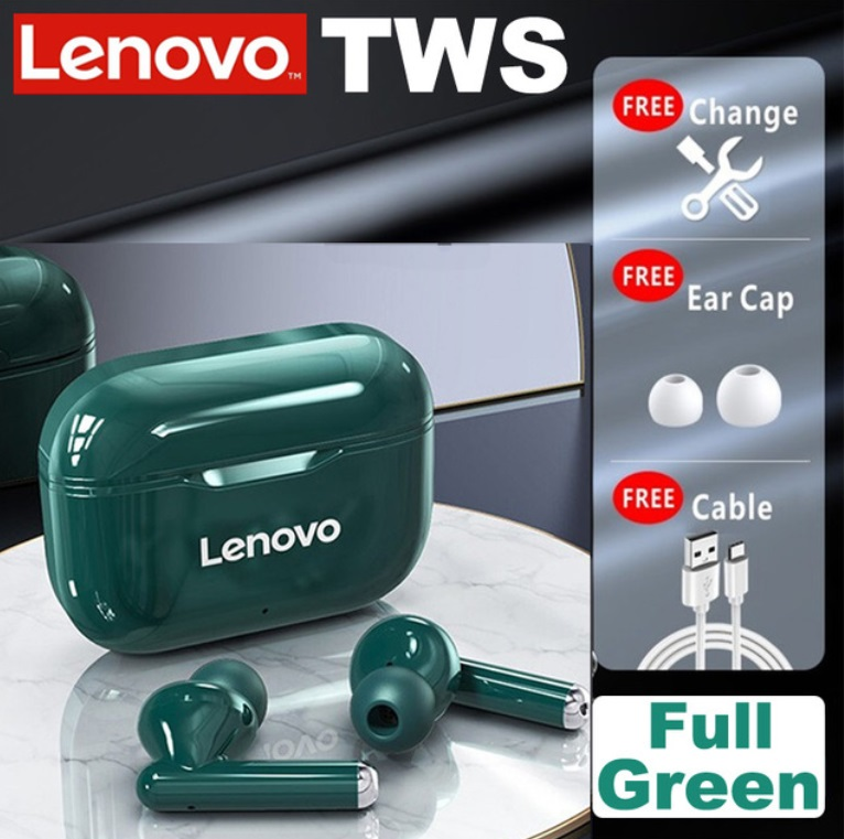 Original LENOVO Wireless  Earphones Bluetooth 5.0 Tws Earbuds LP1 9d Stereo Sound Noise Reduction Ipx4 Headsets With Mic green