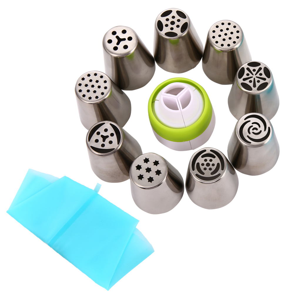 [EU Direct] Cake Decorating Supplies Russian Piping Tips 11-Pcs Sets(9 Russian Tips,1 Disposable Pastry Bag 1 Tri-Color Coupler)