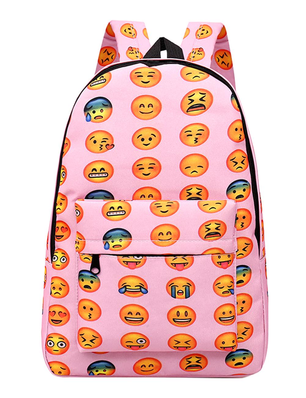 [EU Direct] Unisex Students' Big Capacity Backpack Oxford Cloth Cute Expression Shoulder Bag Pink