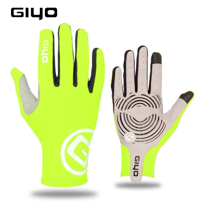 Giyo Cycling Full Finger Gloves Touch Screen Anti-slip Bicycle Bicicleta Road Bike Long Glove Fluorescent yellow_S