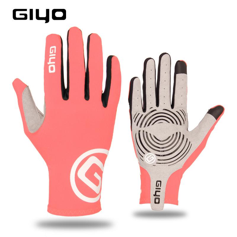 Giyo Cycling Full Finger Gloves Touch Screen Anti-slip Bicycle Bicicleta Road Bike Long Glove Orange_L