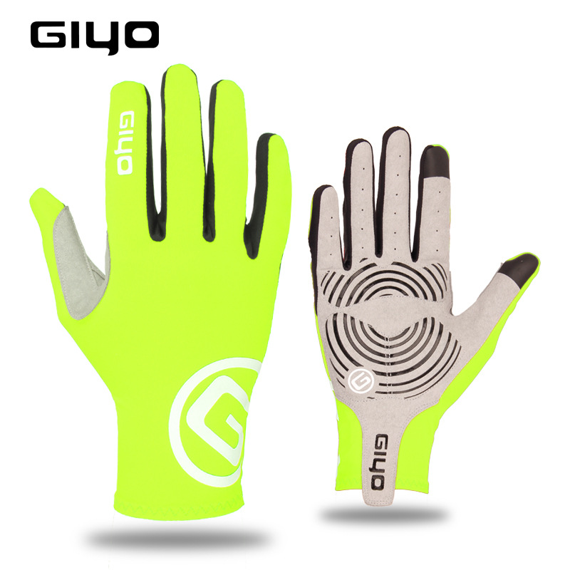 Giyo Cycling Full Finger Gloves Touch Screen Anti-slip Bicycle Bicicleta Road Bike Long Glove Fluorescent yellow_M