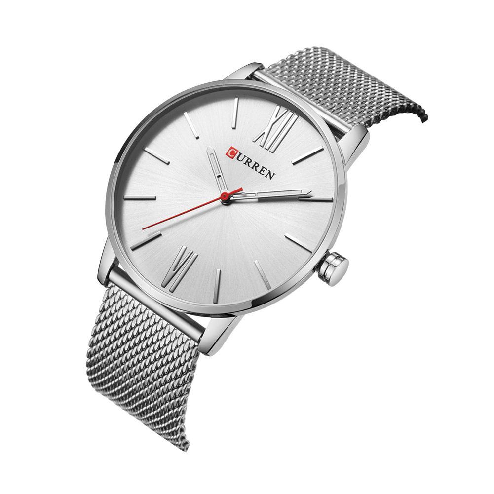 Men Quartz Watch Ultra-thin Roman Numeral Waterproof Stainless Steel Mesh Band Male Wristwatch F