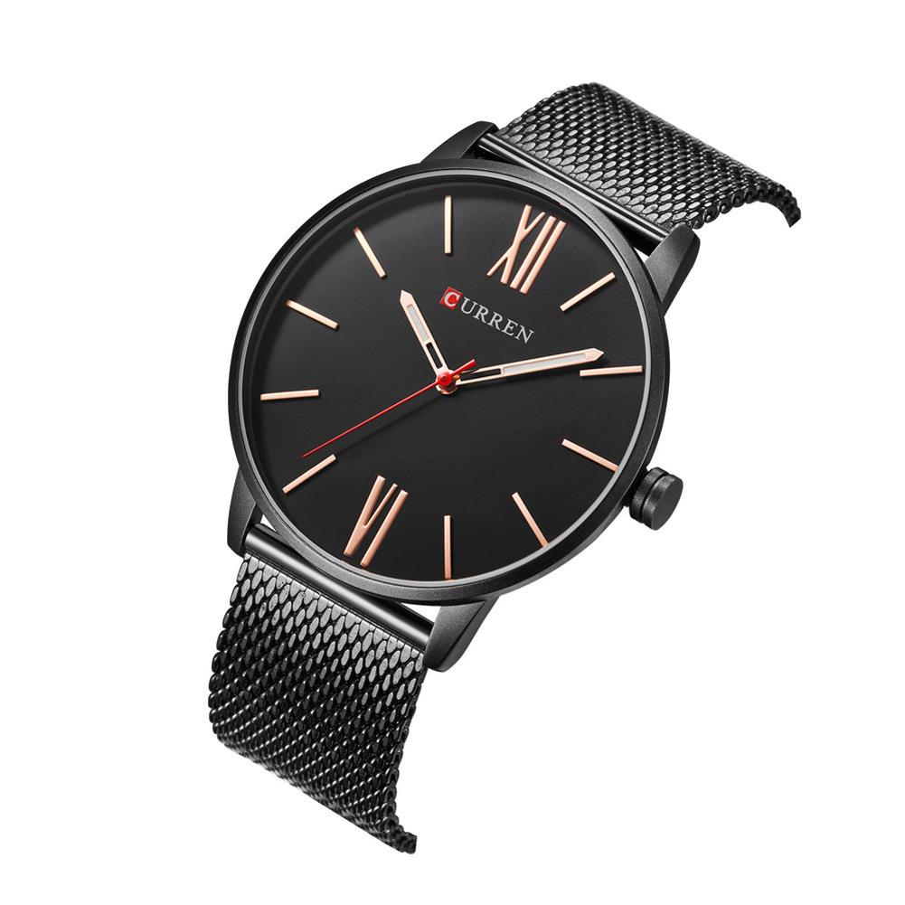 Men Quartz Watch Ultra-thin Roman Numeral Waterproof Stainless Steel Mesh Band Male Wristwatch A