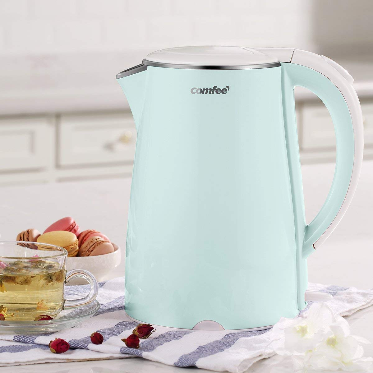 [US Direct] Original COMFEE' Electric Kettle Teapot, 1500W Fast Water Heater Boiler, 1.7 Liter, BPA-Free, Quiet Boil & Cool Touch Series, Auto Shut-Off (Blue) Mint Green