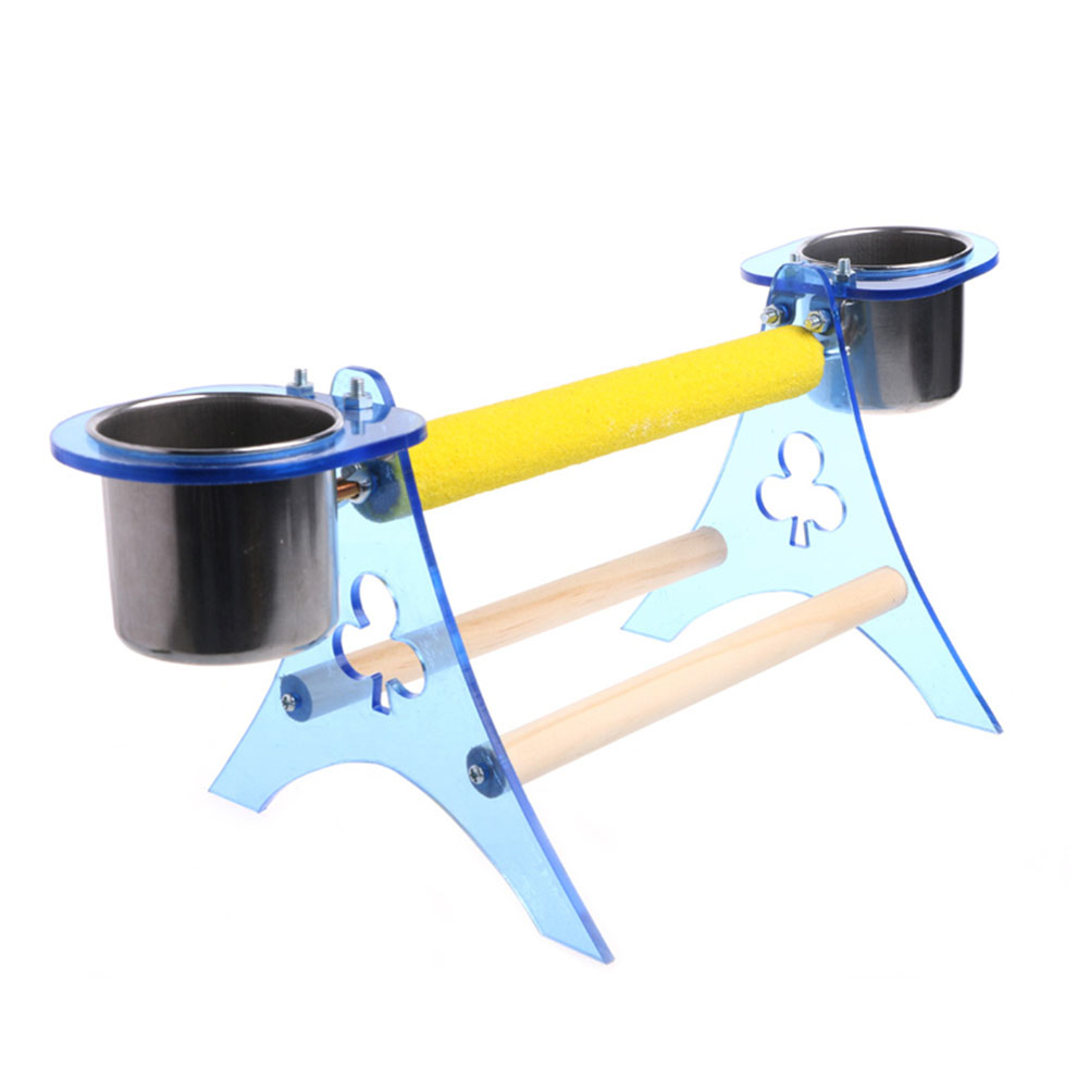 Wooden Tripod Model Home Parrot Pet Bird Perch Cup Stand Platform Toys Small size (stand + cup holder + cup) 263g