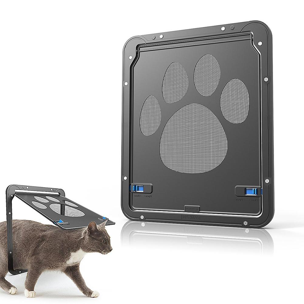 Dog Footprint Pattern Pet Cat Door Window Door Screen Doggie Flap Pet Supplies black_24cm*29cm (outer frame)