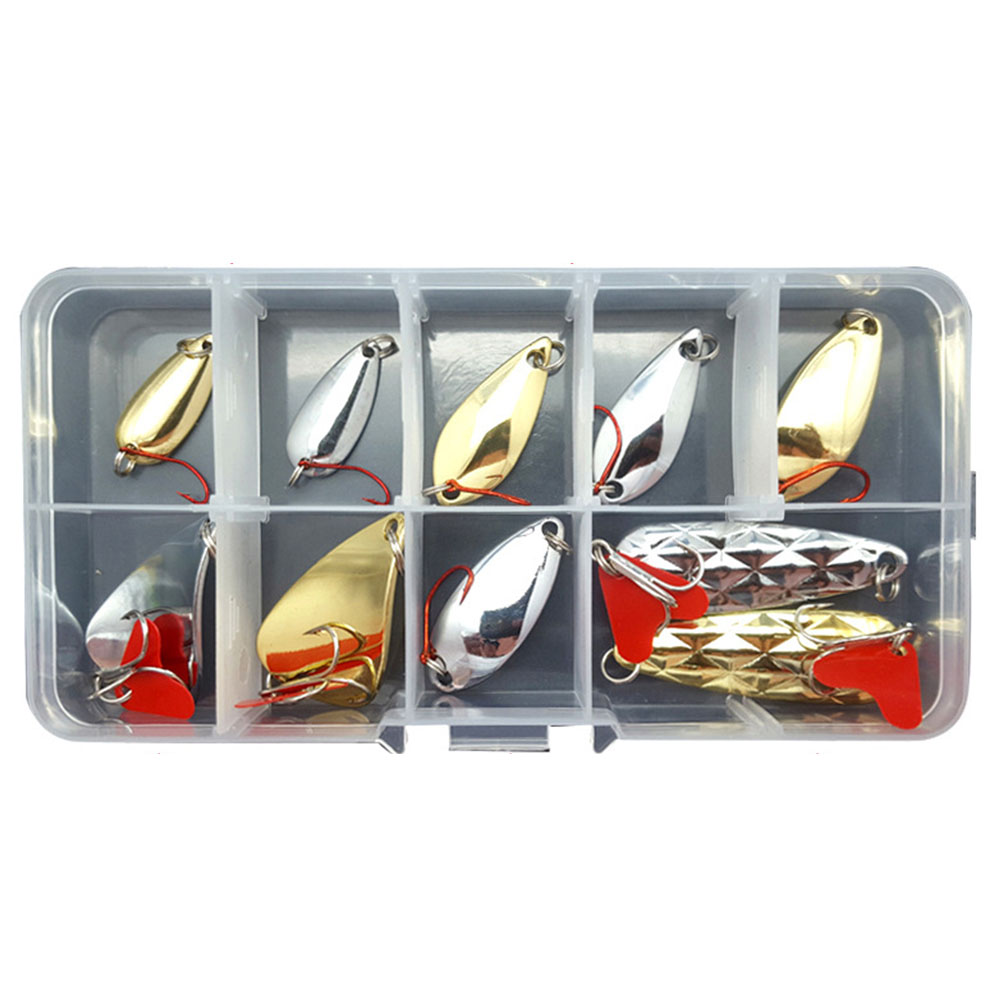 10Pcs/16Pcs Fishing Metal Lure Kit Baits Sequins Spinner Lures 10 sequins (1.5g-6g) 6g