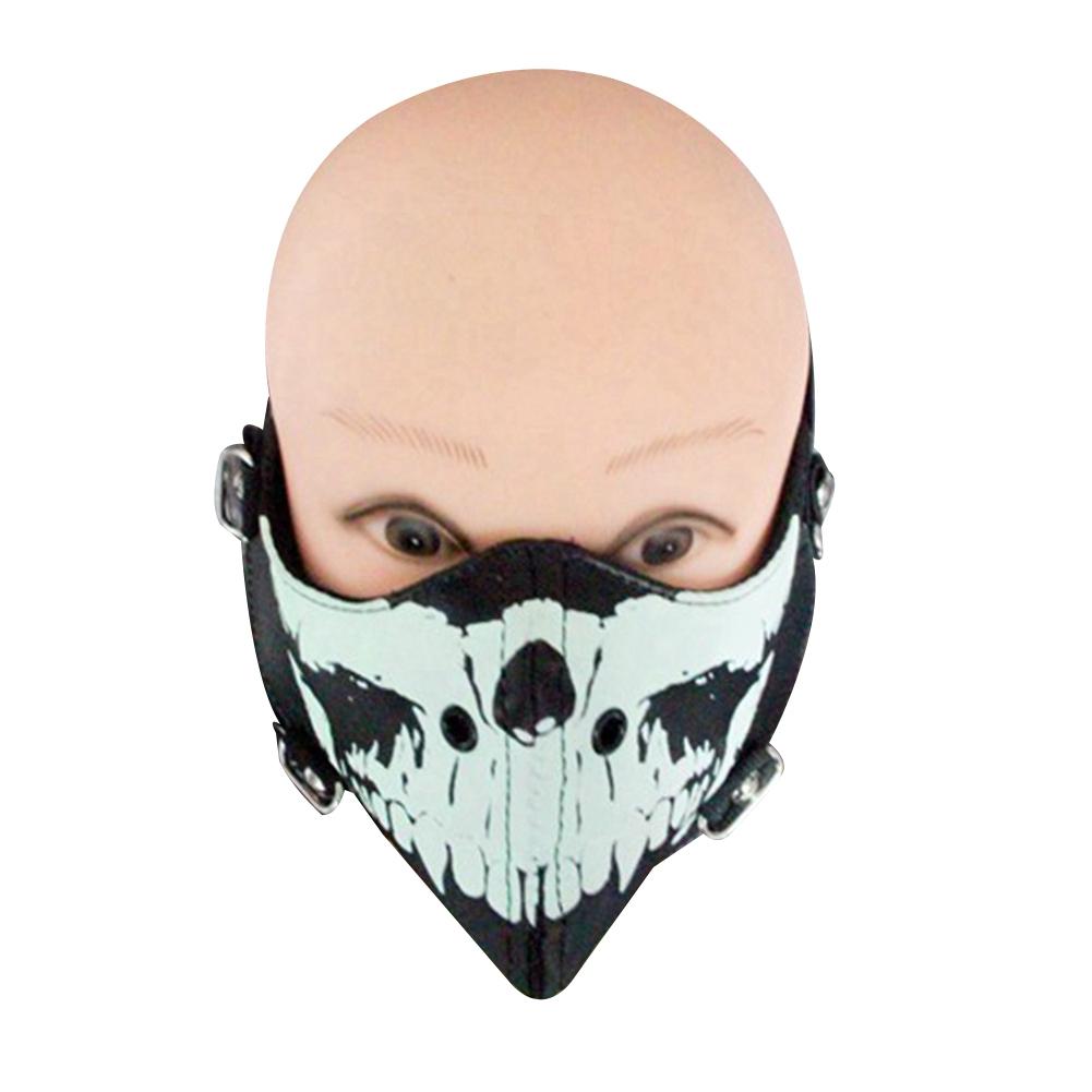 Black Motorcycle Face Mask Men Punk Skeleton Head Glow in The Dark Riding Mask