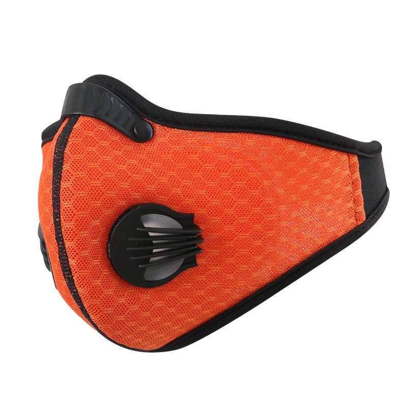 Breathable Mesh Bicycle Mask Dust Smog Windproof Protective Nylon Mesh Bike MTB Cycling Half Face Mask Orange_One size