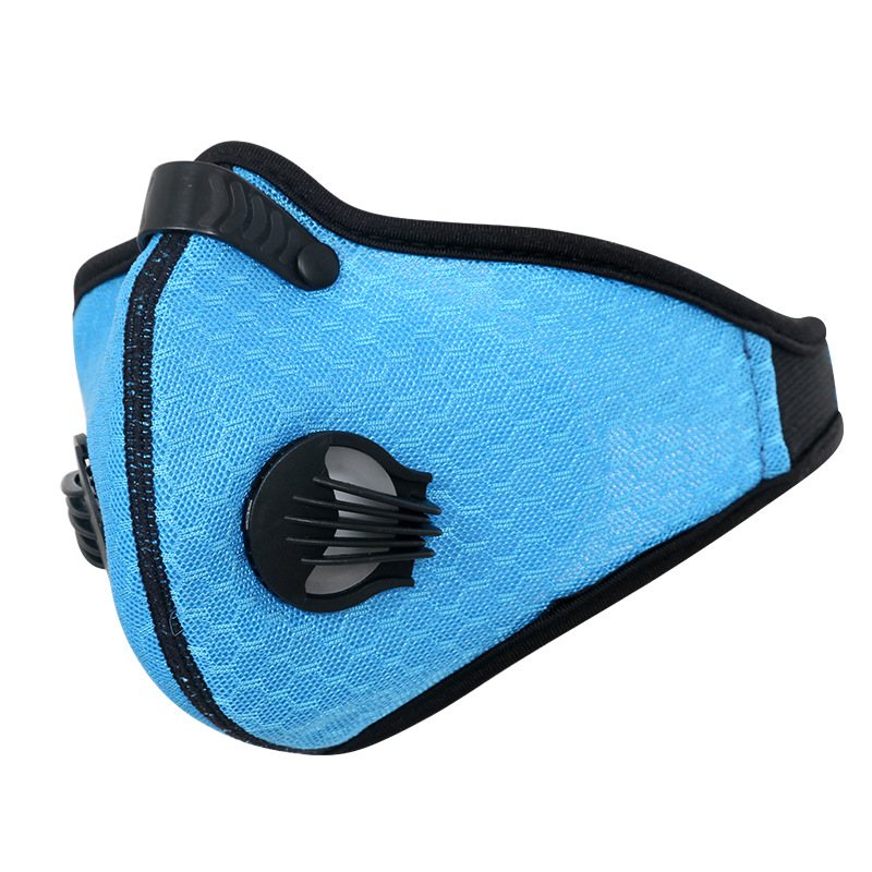 Breathable Mesh Bicycle Mask Dust Smog Windproof Protective Nylon Mesh Bike MTB Cycling Half Face Mask blue_One size