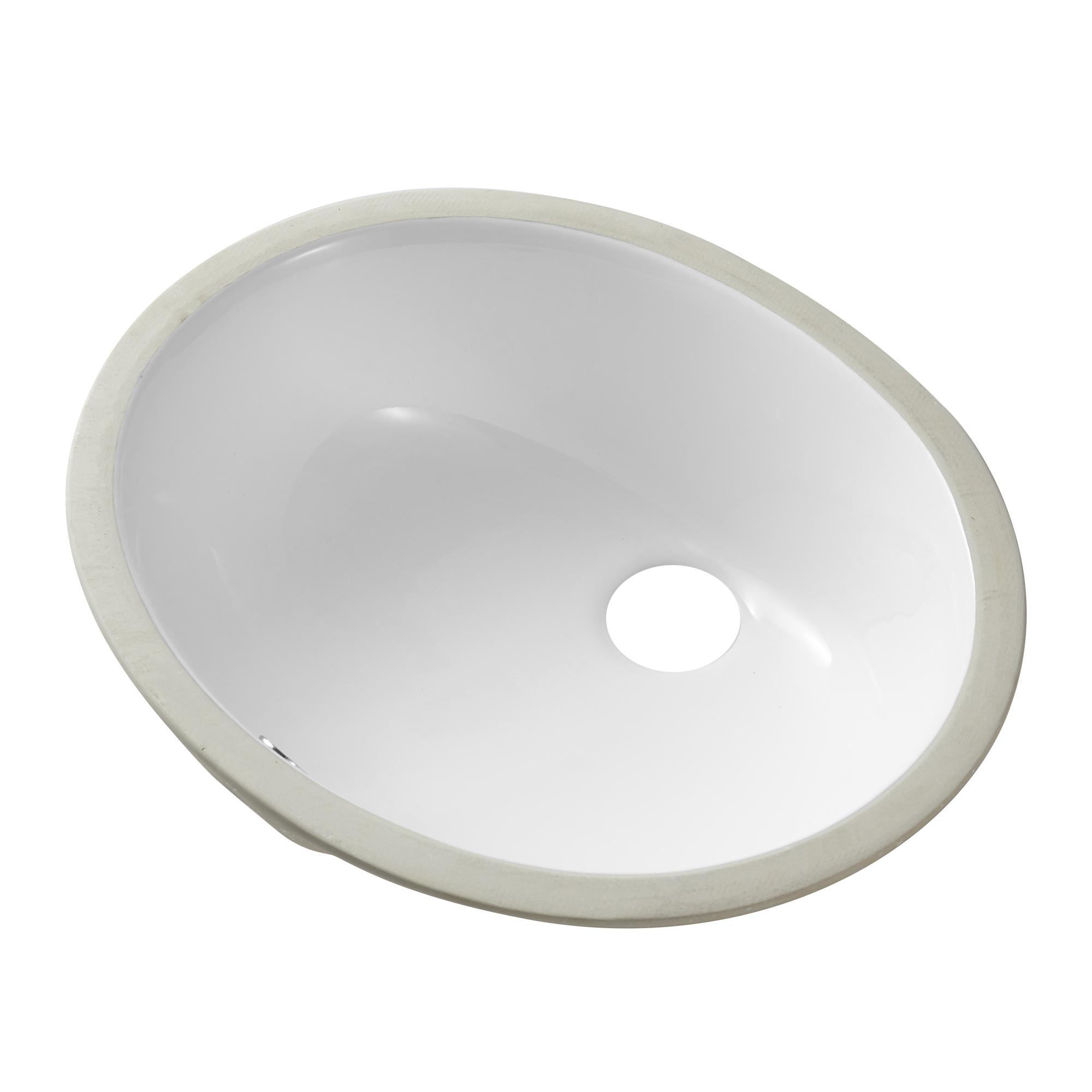 [US Direct] Ceramic Oval Undermount White Bathroom Sink Art Basin