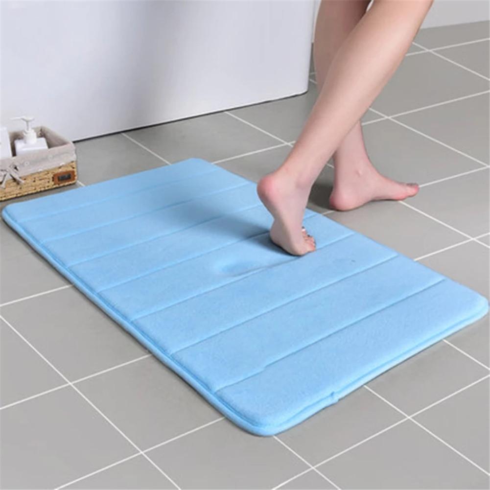 [US Direct] 40*60cm Bathroom  Carpet Memory Sponge Floor Cover For Household Shower Room blue