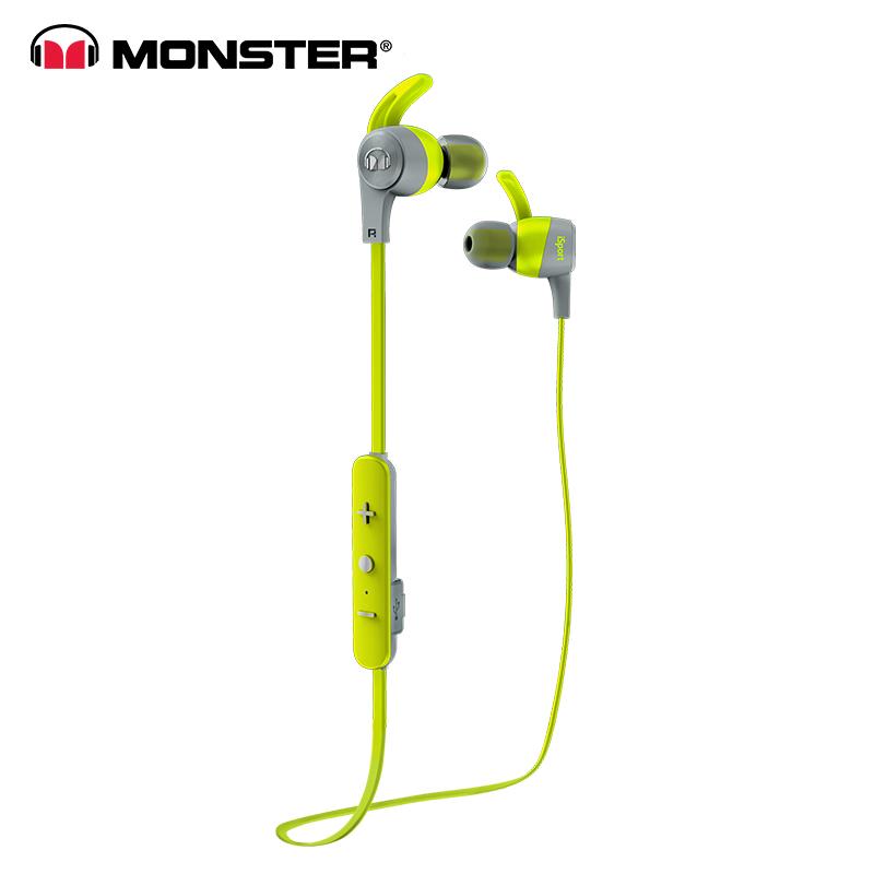Original Monster iSport Achieve Wireless In-Ear Sports Earphone With MIC Sweatproof Noise Reduction Bluetooth Earphones Running Headset green